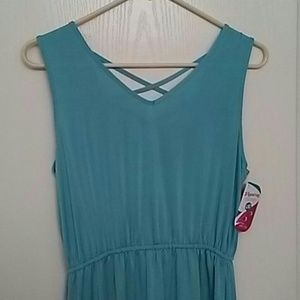After 6 Flyaway Coll Polyester Full Gown Teal NWT!